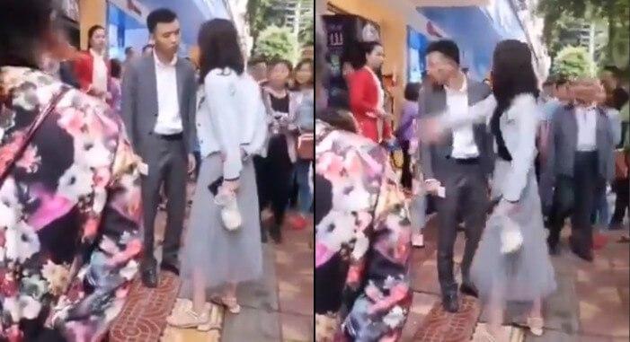 رفتار عجیب دختر چینی با نامزدش در خیابان!