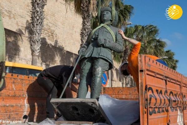 (تصاویر) آخرین مجسمه دیکتاتور اسپانیا برچیده شد