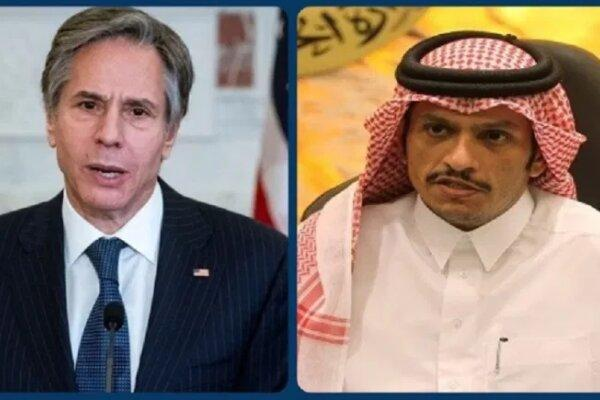 وزرای خارجه قطر و آمریکا تلفنی با یکدیگر تبادل نظر کردند
